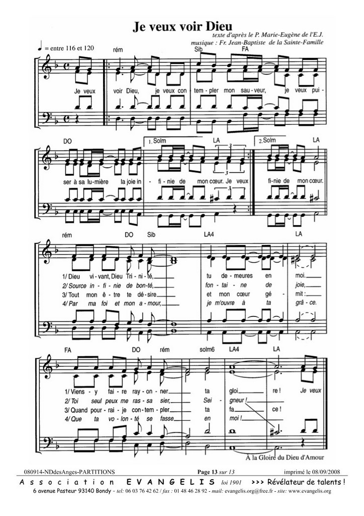 partition chant dieu a mis son corps entre nos mains